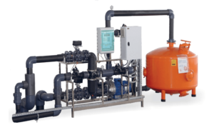engineering system for irrigation solutions: WATER TREATMENT UNIT WITH RECIRCULATION AND FILTRATION 15 - 100 m³/h
